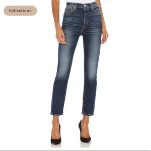 RE/DONE High Rise Ankle Crop Jeans Midnight Blue